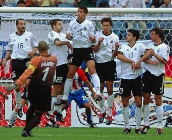 Paraguay 'keeper Jose Luis Chilavert  takes a free