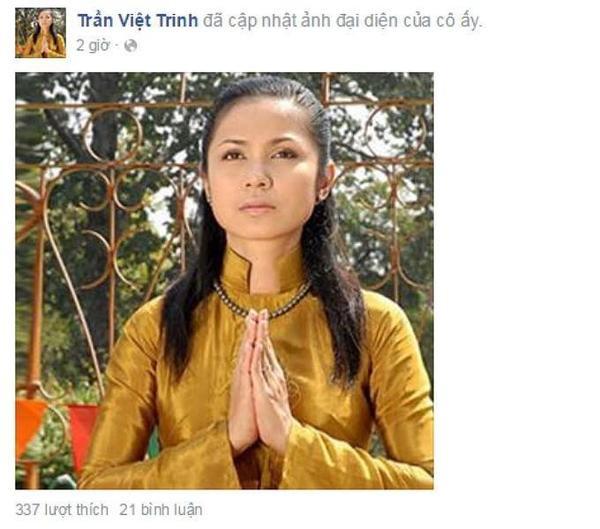 """Không đăng tải bất kỳ thông tin gì nhưng """"người đẹp Tây Đô"""" Việt Trinh quyết định thay đổi ảnh đai diện cũ bằng một bức hình ghi lại cảnh cô mặc áo dài và chấp tay cầu nguyện."""