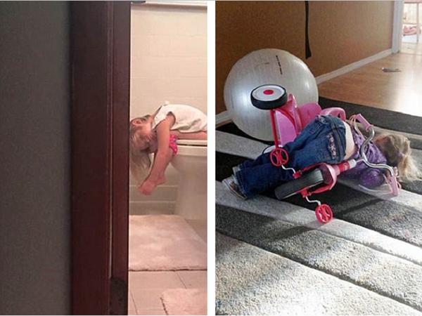 Hai bé gái này đột ngột dừng giữa cuộc chơi và làm một giấc.