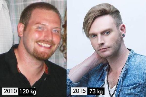 Hình ảnh so sánh Kyo lúc 120kg trước đây và 73kg ở hiện tại được anh chia sẻ trên trang cá nhân của mình