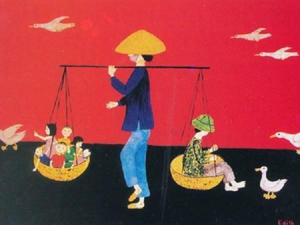 """Một bức tranh do vợ ông Otterbech vẽ trong thời gian ở Việt Nam, tái hiện cảnh """"một gia đình về quê đón Tết cùng ông bà"""". Ảnh: Đại sứ cung cấp"""