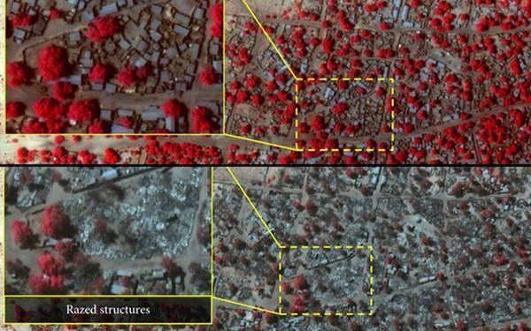 Ảnh chụp vệ tinh vùng đông bắc Nigeria trước (ảnh trên) và sau vụ thảm sát dân làng của phiến quân Boko Haram hồi tháng 1. Vụ tấn công này được cho là đẫm máu nhất lịch sử của nhóm khủng bố khét tiếng nhất Nigeria, khi số người thiệt mạng đến khoảng 2.000.