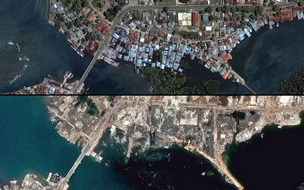 Vùng bờ biển phía bắc tỉnh Banda Aceh trước (ảnh trên) và sau khi sóng thần Ấn Độ Dương tấn công.