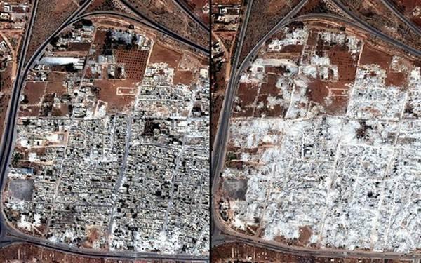 Thị trấn Masha al-Arbieen ở tỉnh Hama, Syria, trước (bên trái) và sau khi bị quân đội chính phủ Syria mở cuộc tấn công, xóa sổ gần như toàn bộ khu dân cư. Thị trấn được cho là nơi trú ẩn của các phần tử nổi dậy.