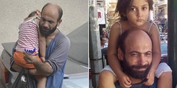 Bức ảnh chụp người đàn ông Syria bế con gái trên vai và bán bút giữa đường phố Lebanon thu hút sự chú ý của hàng nghìn người. Cho tới nay, 120.000 USD được quyên góp để giúp đỡ anh.