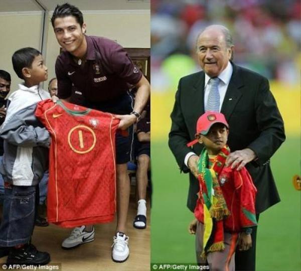 Anh đã giúp cậu bé thực hiện điều ước trở thành cầu thủ bóng đá.