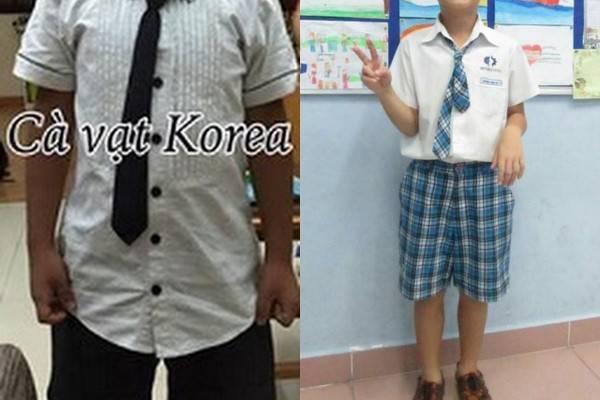 Chị so sánh cà vạt trường Vstar và một trường ở Hàn Quốc.