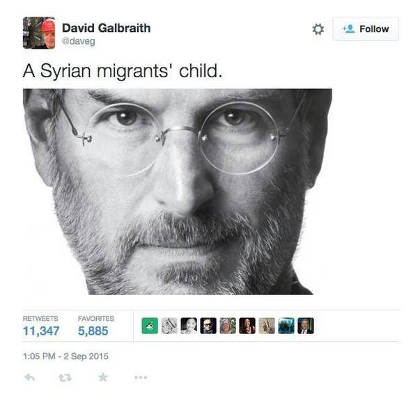 Steve Jobs cũng là đứa con của một người tị nạn Syria.