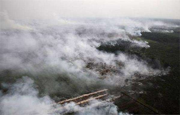 """Biển khỏi từ các đám cháy rừng ở Indonesia lan tới Singapore và Malaysia khiến 2 nước này bị """"vạ lây"""""""