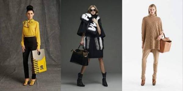 Các mẫu túi oversized trên sàn diễn Thu-Đông 2015 ( từ trái sang phải: Moschino, Fendi, Ralph Lauren)