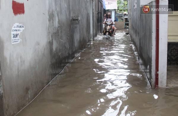 Người dân chỉ khi có việc mới đi ra đường, nhưng cũng phải lội nước ướt hết quần áo.
