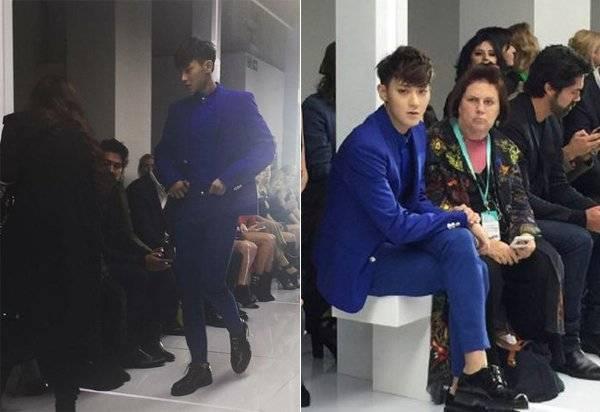Tao đén muộn tại show thời trang, bên cạnh anh - chủ biên thời trang Vogue Suzy Menkes thể hiện sự khó chị.