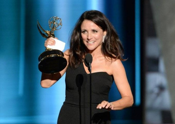 IMAGE DISTRIBUTED FOR THE TELEVISION ACADEMY - Julia Louis-Dreyfus accepts the award for outstanding lead actress in a comedy series for ìVeepî at the 67th Primetime Emmy Awards on Sunday, Sept. 20, 2015, at the Microsoft Theater in Los Angeles. (Photo by Phil McCarten/Invision for the Television Academy/AP Images) ORG XMIT: INVL