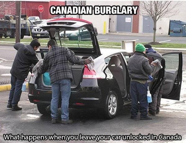 Khi bạn không khóa xe ở Canada.