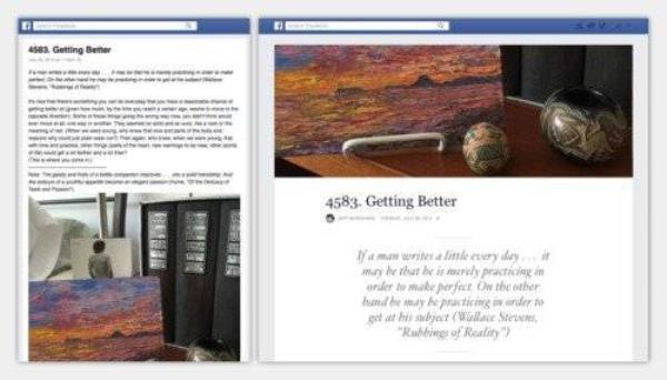 Phần viết Notes trên Facebook được thay đổi hoàn toàn và giúp nó trở nên dễ nhìn và đẹp hơn nhiều