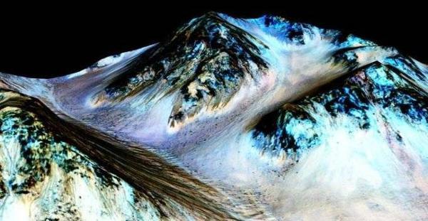 Những dòng chảy trên sao Hỏa chụp bởi tàu thăm dò vũ trụ Reconnaissance Orbiter, có khả năng một ngày nào đó chúng ta còn được uống nước trên sao Hỏa.