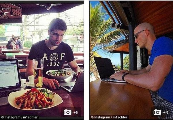 Một bức ảnh cho thấy Mischler đang gặp khách hàng và thưởng thức những món ăn địa phương. (Ảnh: Daily Mail)