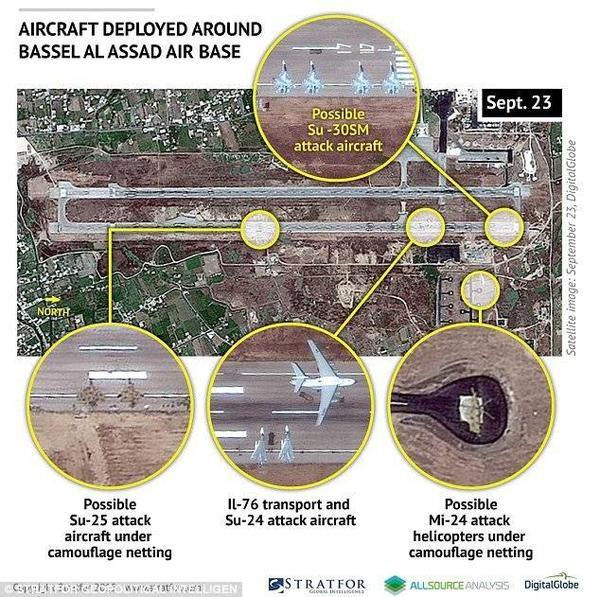 Ảnh chụp vệ tinh ngày 23/9 cho thấy bản đồ khu căn cứ không quân của Nga gần Bassel Al Assad, Syria, nhằm tăng cường hỗ trợ quân sự theo lời kêu gọi của Tổng thống Assad.