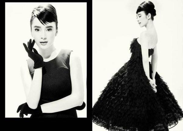 Angela Phương Trinh trong shoot hình mới nhất với chiếc váy xòe màu đen quyến rũ của NTK Đỗ Mạnh Cường. Trong bộ ảnh, cô hóa thân thành nữ diễn viên điện ảnh nổi tiếng Audrey Hepburn.