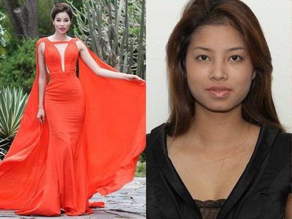 Hoa hậu Phạm Hương hiện tại và Phạm Hương cách nay 4 - 5 năm (phải) - Ảnh: Sơn Collection , T.L