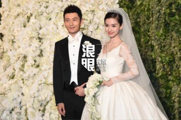 Angela Baby và Huỳnh Hiểu Minh rạng ngời trong đám cưới.