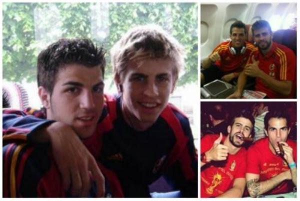 Cesc Fabregas và Gerard Pique
