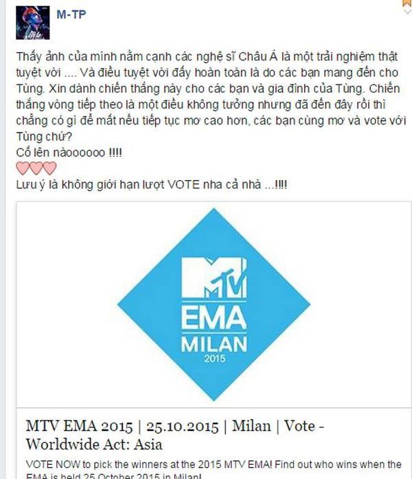 Status chia sẻ cảm xúc khi giành chiến thắng ở vòng 2 MTV EMA 2015 và gửi lời cảm ơn đến người hâm mộ của Sơn Tùng M-TP.