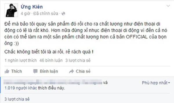 Đạo diễn Ứng Duy Kiên bức xúc khi Phan Mạnh Quỳnh chê MV của anh có chất lượng như quay bằng điện thoại di động.