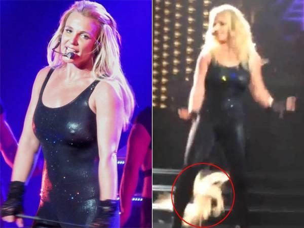 """Cuối tháng 2, Britney đang ở giữa màn biểu diễn ca khúc Do Something ở Planet Hollywood, thì một mảng tóc nối bất ngờ rơi xuống sàn. Mái tóc của Britney bị lộ một mảng trống không trước sự chứng kiến của người hâm mộ. Mặc sự cố, """"công chúa nhạc pop"""" vẫn tiếp tục biểu diễn. Đây cũng không phải lần đầu tiên Britney bị tóc nối phản chủ."""