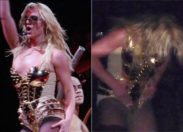 """Tai hại hơn, """"công chúa nhạc pop"""" từng bị rách trang phục ngay tại nơi nhạy cảm trong show diễn trở lại diễn ra ở Tampa, Florida năm 2009. Sau bài hát I'm A Slave 4 U, Britney đi xuống thay trang phục. Vì Britney quên tắt micro nên khán giả có thể nghe rõ nữ ca sĩ thốt lên vì sự cố rách quần ở vùng kín."""