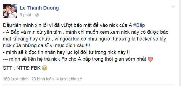 Lời sám hối khá tử tế của hacker trên facebook cá nhân của Ngô Kiến Huy.