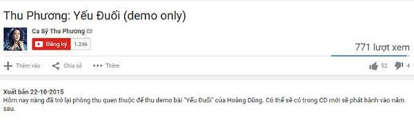 Dòng mô tả úp mở về chuyện Thu Phương đưa Yếu đuối vào CD mới.