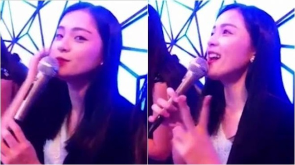 Hình ảnh Hạ Vi hát karaoke từ clip.