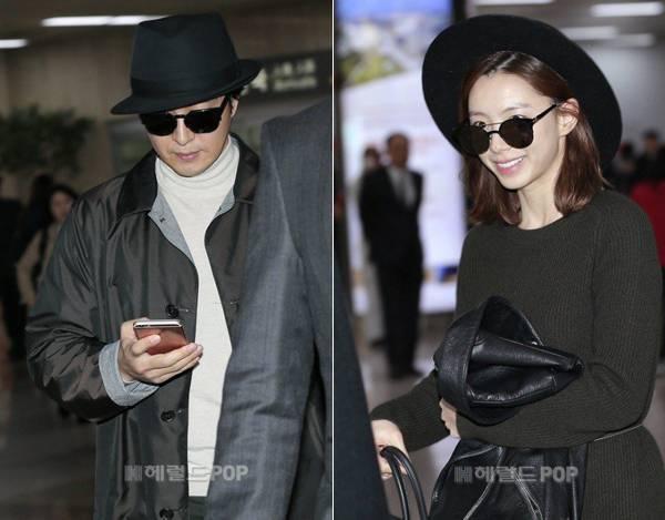 Vợ chồng Bae Yong Joon - Park Soo Jin lần đầu tiên lộ diện trước báo giới.
