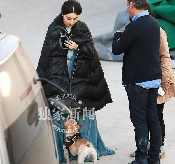 Nữ diễn viên còn vui vẻ khi phát hiện có chú chó nhỏ ở phim trường.