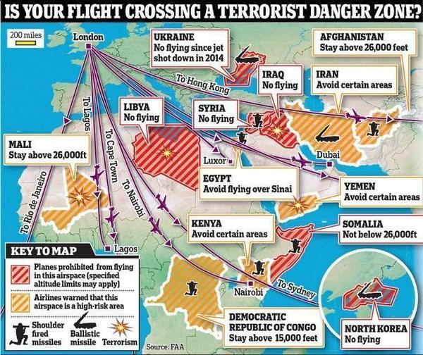 Lược đồ cấm bay, hạn chế bay qua các không phận nguy hiểm nhất trên thế giới mới được cục hàng không Anh và Mỹ công bố.