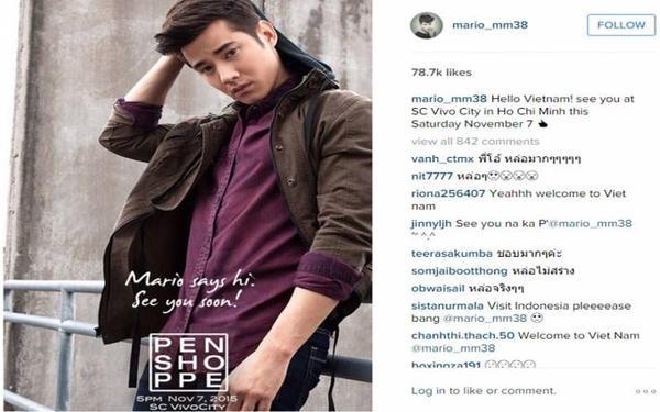 Status của Mario Maurer trên Instagram.