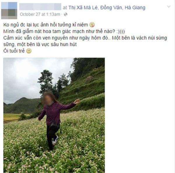 Bức ảnh cùng lời bình luận gây bức xúc của cô gái. Nguồn: FB.