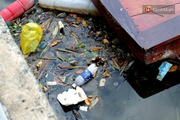 Rác thải do những người thiếu ý thức vứt xuống kênh gây ô nhiễm.