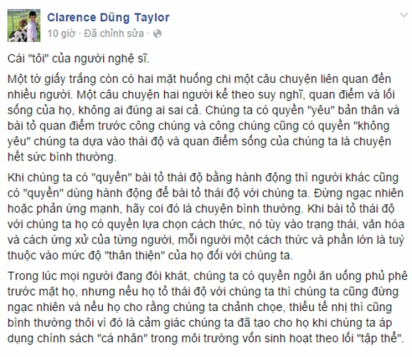 Status của bầu show Dũng Taylor.