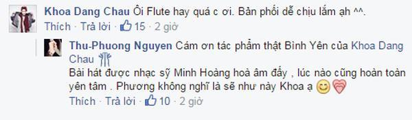 Bình luận của nhạc sĩ Châu Đăng Khoa và Thu Phương bên dưới status.