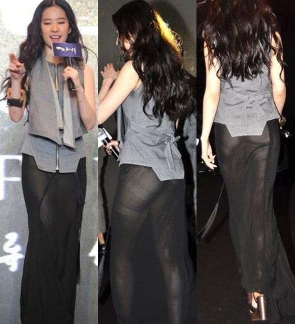 Lưu Diệc Phi có mặt tại sự kiện ra mắt phim Tứ đại danh bổ đã ngượng ngùng vì váy xuyên thấu lộ cả phần quần nội y phía trong.
