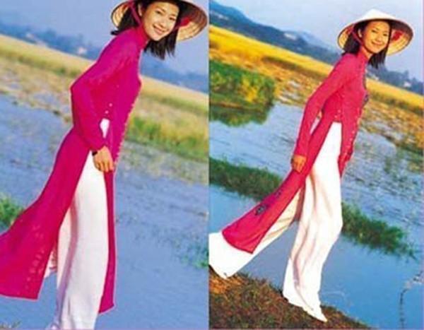 Ngôi sao tài năng của Trung Quốc Từ Tịnh Lôi mặc áo dài và nón lá tạo dáng trên cánh đồng lúa trong một bộ ảnh chụp tại Việt Nam. Đại hoa đán làng giải trí Hoa ngữ tâm sự rất yêu thích đất nước và con người Việt.