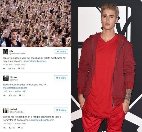 Fan phẫn nộ vì vé giao lưu với Justin Bieber lên đến 2000 USD.