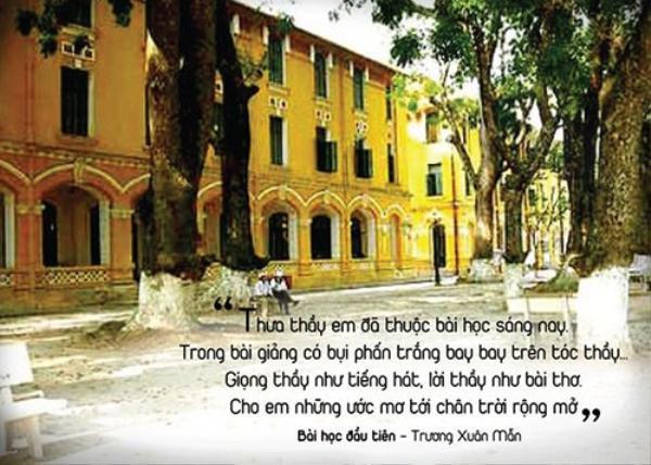 Bài học đầu tiên là sáng tác của nhạc sĩ Trương Xuân Mẫn được nhiều thế hệ học trò yêu thích. Bài hát giản dị về hình ảnh người thầy gắn liền với phấn trắng, bảng đen, những giờ lên lớp… Cũng như nhiều bài hát khác lấy hình ảnh thầy cô làm trung tâm, Bài học đầu tiên luôn được khán giả nhớ đến bởi nó được xem là bưu thiếp mà mỗi người muốn gửi đến thầy, cô của mình.