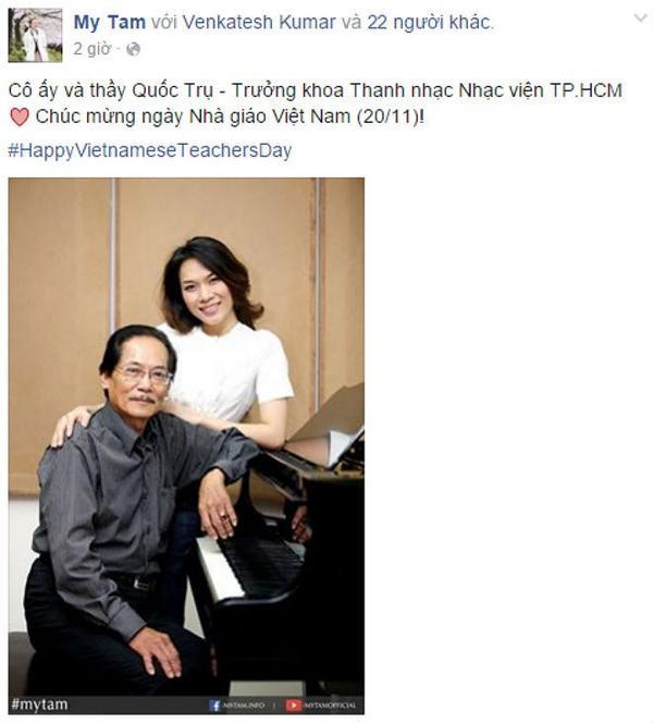 Lời chúc mừng Ngày Nhà giáo Việt Nam của Mỹ Tâm trên Fanpage.