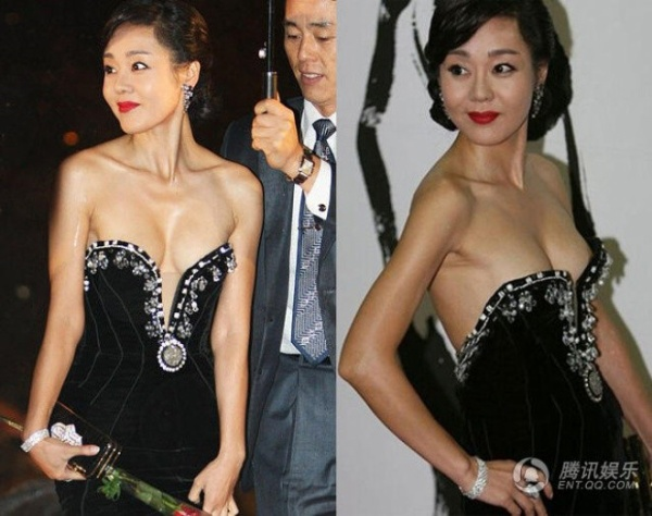 Người đẹp phim Mất tích với chiếc váy chỉ chờ tuột.