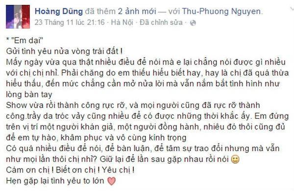 Hoàng Dũng an ủi Thu Phương trên trang Facebook riêng sau 3 đêm nhạc chung với bộ tứ diva.