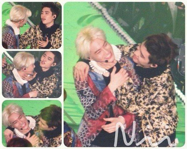 Thành viên D.O cũng bị chưng hửng vì trưởng nhóm Suho từ chối tình cảm. Màn pha trò với nụ hôn đồng tính của hai chàng trai EXO khiến fan nữ la hét không ngớt.