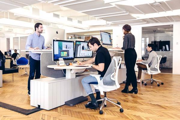 Trụ sở của công ty lập trình Harry tại New York được thiết kế mở, ghế ngồi không hề cố định, nhân viên có thể đứng làm việc nếu thích. Dễ dàng tiếp cận và linh hoạt là tinh thần chủ đạo của văn phòng này.